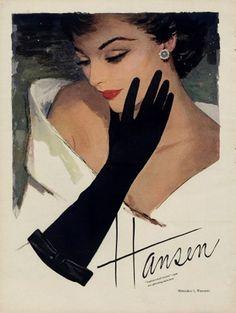 Hansen gloves advertisement, 1957