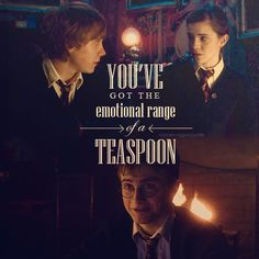 The laugh at the end of this quote wasn't in the script but David Yates (director) liked it so they kept it.