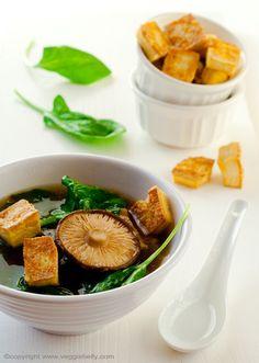 Spinach and Shitake Mushroom Soup with Crispy Baked Tofu Croutons