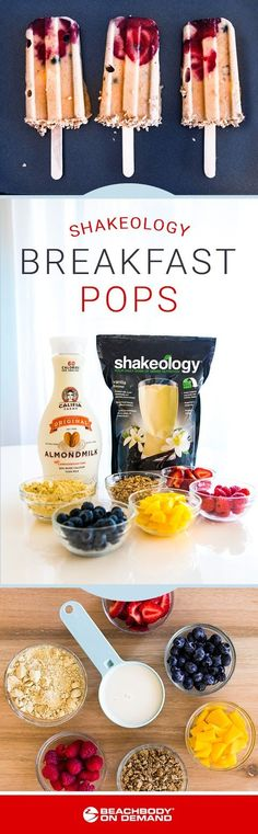 This easy breakfast pops recipe combines a protein shake, crunchy whole-grain cereal, and fresh fruit for a morning snack! Shake Recipes, Smoothie Recipes, Protein Smoothies, Fruit Smoothies, Beachbody Shakeology, Beachbody Blog, 21 Day Fix Breakfast, Popsicle Recipes, Easy