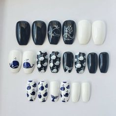 Blue Nails, White Nails, Damaged Nails, Blue Nail Designs, Nail Sizes, Blue Whale, Types Of Nails, Accent Nails, Glue On Nails