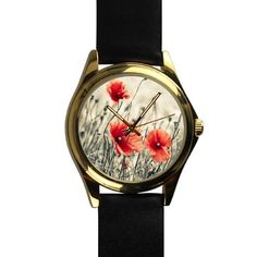 Popular Vintage Red Poppy Flower Drawing Unisex -tone Round Leather Metal Watch >> Remarkable product available now. : Travel Gadgets