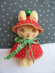 Bunny in Christmas Outfit Brooch and Ornament by Joeysdreamgarden