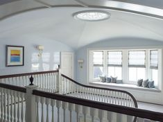 Mecox Farm Water Mill New York House For Sale Designed by James Michael Howard Upstairs Landing Windowseat