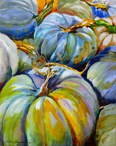 """Daily Paintworks - """"Blue Monday"""" - Original Fine Art for Sale - © JoAnne Perez Robinson Fall Canvas Painting, Autumn Painting, Autumn Art, Canvas Art, Pumpkin Painting, Pumpkin Art, Pumpkin Faces, Pumpkin Ideas, Wow Art"""