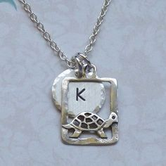 Personalized Turtle Hand Stamped Sterling Silver Initial Charm Necklace $26 by #DolphinMoonCreations.com #turtlenecklace