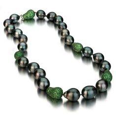 Black Baroque Tahitian Pearl Necklace w/ Tsavorite Baroque Ball  Price : $6,699.00 http://www.blountjewels.com/Black-Baroque-Tahitian-Necklace-Tsavorite/dp/B00C7YTSOQ