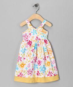 Yellow Floral Surplice Dress - Infant, Toddler & Girls