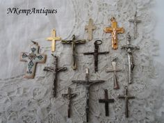 Old crucifix x 14 by Nkempantiques on Etsy