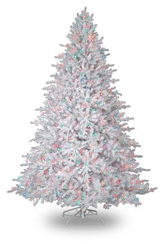 white tree with multi colored lights