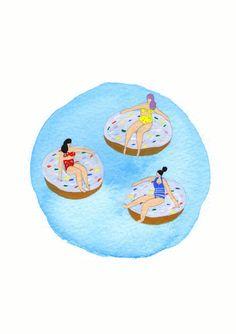 """Girls"" Original watercolour painting - Free shipping and free framing by helobirdie on Etsy, $50.00  Donuts - Summer - girlfriends - friends - water - beach - bikinis - purple hair - high waisted bikini"