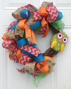 Spring Grapevine Wreath - Owl Wreath - Whimsical Wreath - Deco Mesh Wreath - Burlap Owl Wreath - Burlap Ribbon Wreath - Rustic Owl Decor - by Kayla's Kreations for $65.00