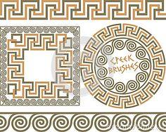 Set 3 Brushes Greek Meander patterns
