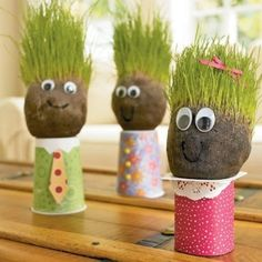 Earth Day - Grass Head Guys - like chia pet for kids.I did this for the kids in Safekey. We all had a blast making them and watching the hair grow. Kids Crafts, Man Crafts, Projects For Kids, Art Projects, Diy And Crafts, Classroom Projects, Garden Projects, Family Crafts, Classroom Decor