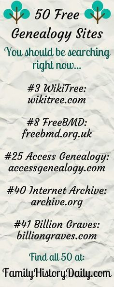Free Genealogy Sites to Search Today These 50 Free Genealogy Sites Will Take Your Family History Research To The Next Level.These 50 Free Genealogy Sites Will Take Your Family History Research To The Next Level. Free Genealogy Sites, Genealogy Search, Family Genealogy, Genealogy Forms, Genealogy Chart, Free Genealogy Records, Genealogy Humor, Family Tree Research, Family Tree Chart