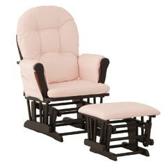 Stork Craft Hoop Glider and Ottoman, Black/Pink