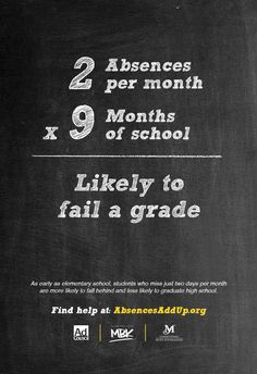 The Absences Add Up campaign emphasizes to parents the importance of consistent school attendance and the impact absences have on their children's academic outcomes. The campaign demonstrates that absences add up, and as early as elementary school, students who miss just two days of school per month are more likely to fall behind and less...