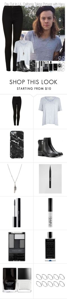 """Day out in California taking pictures"" by elise-22 ❤ liked on Polyvore featuring Topshop, River Island, 3.1 Phillip Lim, Yves Saint Laurent, Stila, shu uemura, NARS Cosmetics, Wet n Wild, Agonist and Butter London"