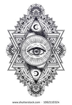 Ornamental composition with sacred geometry eye. Ornamental composition with sacred geometry eye. Vision of God Providence. Drawing in flash tattoo style. Geometric Tattoo Design, Mandala Tattoo Design, Geometric Art, Mandala Tattoo Men, Arm Tattoo, Tattoo Designs, Sacred Geometry Symbols, Sacred Geometry Tattoo, Sacred Geometry Triangle
