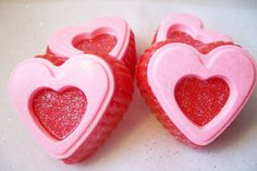 A very pretty Valentines Gift! What a great gift these heart shaped soaps would make. We started with our coconut soap base and added a beautiful red