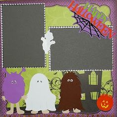 Scrap This Save That: October scrapbook/calendar page featuring Paper Doll Dress Up and Phrases Cricut cartridges and Peachy Keen stamps.