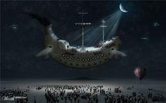 Flying Banana ship at Night - by captonjohn Worth1000 Contests
