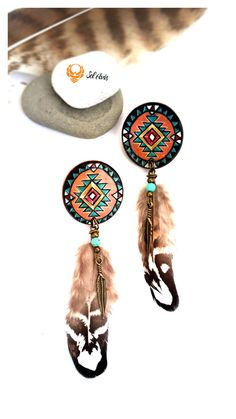 Native American Inspiration - earrings! These earrings are inspired by the native americans. Theyre made out of burned (pyrographed) wood, painted