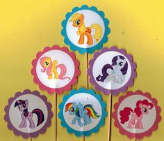 My Little Pony Cupcake Toppers Birthday Party Decorations Set of 12 cute and colorful toppers. My Little Pony Cupcake Toppers Birthday Party Decorations Set ...