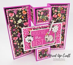 "Hi everyone, here are some bright and bold Triple Panel Fold cards using the new First Edition ""Forever Free"" papers. You know I love playing around with cardstock and finding fun new w… Joy Fold Card, Fun Fold Cards, Folded Cards, Cool Cards, 3d Cards, Birthday Card Design, Birthday Cards, Trifold Shutter Cards, Interactive Cards"