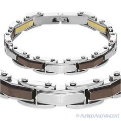 #Silver-tone gold-tone brown stainless #steel link cuff mens #bracelet…