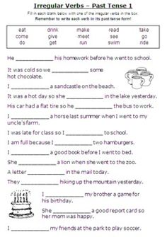 ESL GRAMMAR UNIT: Using Regular and Irregular Verbs in the Past Tense... super set of worksheets makes students think!?