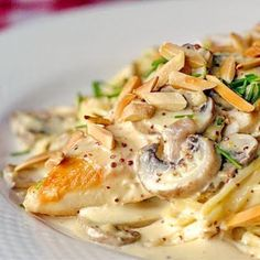 Dijon Chicken with Crimini Mushrooms and Toasted Almonds - serve with steamed veggies.