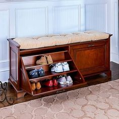 Woodworking Bench Essex Double Tilt-Out Shoe Bench - Find a shoe bench for small spaces that offers convenient shoe storage and a comfy seat. Wood and wood composites; available in 3 stylish finishes. Shoe Storage Design, Shoe Storage Rack, Bench With Shoe Storage, Rack Design, Diy Storage, Storage Ideas, Shoe Racks, Hidden Storage, Closet Storage