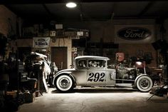 Model A in the garage. Starting to dig these deeply channeled cars.
