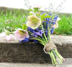 Spring Bloomer - Muscari, Hyacinth, Hellebores, Pink and Purple, Twine Tied - Flowers by Flowers of the Hesperides Spring Has Sprung, Here Comes The Bride, Spring Flowers, Twine, Easter, Purple, Plants, Bloomer, Easter Activities