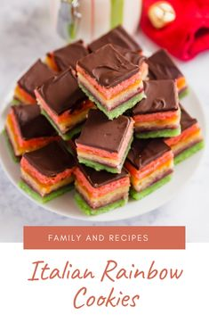 Rainbow Cookies It's rare that I post a recipe that is labor intensive. I'm all about keeping things simple, but some recipes are too good not to share and this is one recipe where your hard work pays off Italian Rainbow Cookies, Italian Cookies, Allrecipes Recipe, How To Temper Chocolate, Seared Tuna, Carter Family, Good Food, Yummy Food, Green Food Coloring