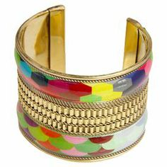 """Brass cuff with a geometric design and stacked bangle silhouette.   Product: CuffConstruction Material: Brass and resinColor: GoldFeatures:  StackableGeometric designAdjustable Dimensions: 2"""" DiameterCleaning and Care: Wipe clean with dry cloth"""