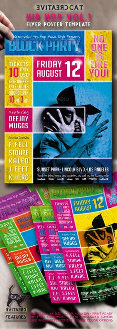 "HIP HOP FLYER/POSTERT #GraphicRiver ""Block Party – Hip Hop Vol.1"" – This flyer was designed to promote a Hip Hop, Rap, Jazz, Funk, Disco, Dub,Rhythm and Blues, Dancehall and Reggae music event, such as a concert, festival, party or weekly event in a music club and other kind of special evenings."