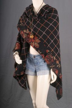 Wrap Poncho Cape Tapestry Black Red women size OSFA by sparrowlyn, $114.00