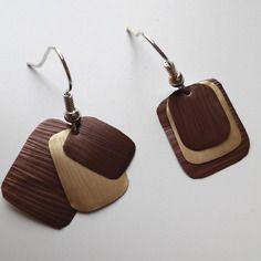 Boucles d'oreilles carrées en capsule de café nespresso marrons et dorées