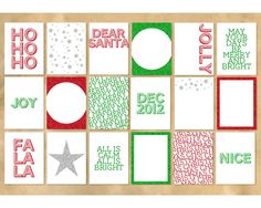 Printable 3x4 Christmas Glitter Cards - Project Life Bling