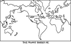 """Geography humor about the """"east"""" and the """"west"""" West East, Funny Memes, Hilarious, Bumper Stickers, Funny Photos, Bugs, Geek Stuff, Entertainment, Lol"""
