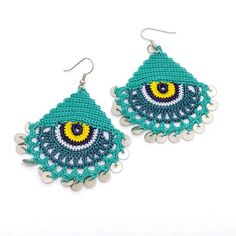 Devil Eye earrings  Tatting jewelry  Summer earrings  Lace
