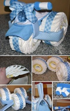 Handmade Baby Shower Gift Ideas [Picture Instructions] - DIY Tricycle Diaper Cake Baby Gifts-Handmade Baby Shower Gift Ideas Instructions The Effective Pict - Cadeau Baby Shower, Idee Baby Shower, Shower Bebe, Baby Shower Diapers, Boy Shower, Baby Shower Diaper Cakes, Shower Party, Cute Baby Gifts, Handmade Baby Gifts