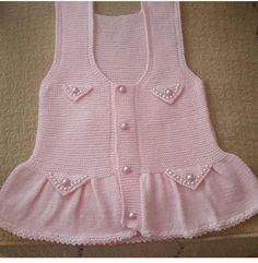 o kadar cok arastirdim ki Knitting For Kids, Baby Knitting Patterns, Crochet For Kids, Knitting Designs, Crochet Baby, Knitted Baby, Baby Sweaters, Girls Sweaters, Baby Bolero