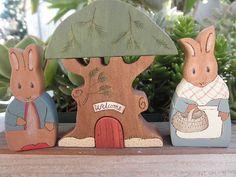 Beatrix Potter Series PETER - MAMA RABBIT  and Fir Tree Habitat Stacker