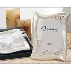 """Love design photo frames pearlized white with crystals in elegant black box with organza ribbon. Holds a 4x6 photo. Insert reads """"thank you for sharing our joy"""". Made of a polyresin. #timelesstreasure"""