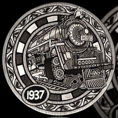 ANDY GONZALES HOBO NICKEL - LOCOMOTIVE - 1937 BUFFALO NICKEL Hobo Nickel, Coin Art, Metal Engraving, Sculpture Art, Coins, Pure Products, Money, Locomotive, Sarcasm