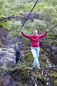 Walk on a wire-rope bridge **Glen Nevis in Lochaber, Highland, Scotland, with Fort William at its foot. Glen Nevis, Rope Bridge, Covered Walkway, Scotland Travel, Scotland Trip, Fort William, Adventure Is Out There, Adventure Time, North Coast