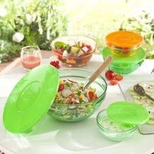 Les 5 saladiers en verre coloré + les 5 couvercles